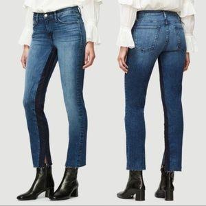 Frame Le High Ankle Straight Elaine Contrast Jean